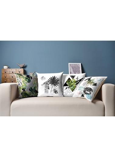 Tezkotekstil Güçlü Tropikal 4'Lü Kombin Dekoratif Yastık Kırlent Kılıfı Renkli